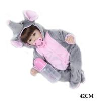 Reborn baby doll 42cm soft silicone body cute doll elephant loves doll toys for girls boneca Bebe baby doll birthday Gifts Toys