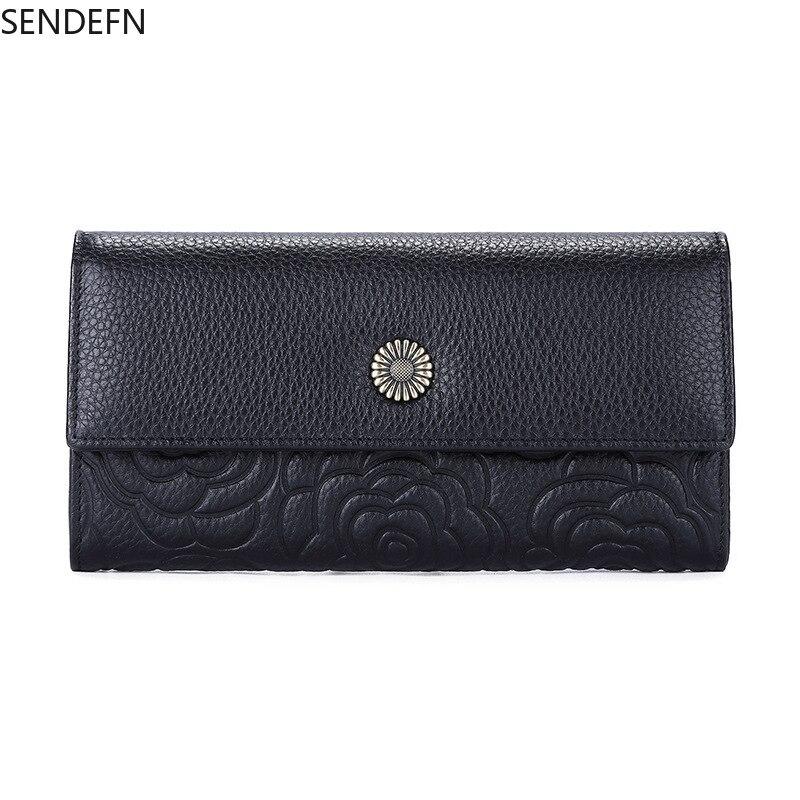 Senfn – portefeuille en cuir véritable pour femmes, nouveau, de styliste, en relief, à la mode, sac dargent de luxe
