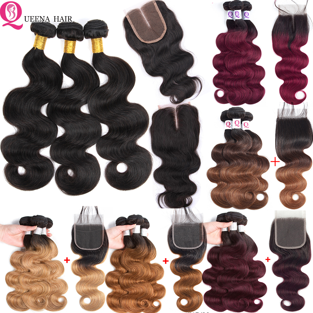 6x6 Bundles And Closure Ombre Body Wave Bundles With Closure Remy Peruvian Blonde 1B/27 1B/99J Human Hair 3 Bundles With Closure