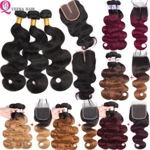 6x6 пучков и закрытие Омбре объемные волнистые пучки с закрытием Remy перуанские блонд 1B/27 1B/99J человеческие волосы 3 пучка с закрытием