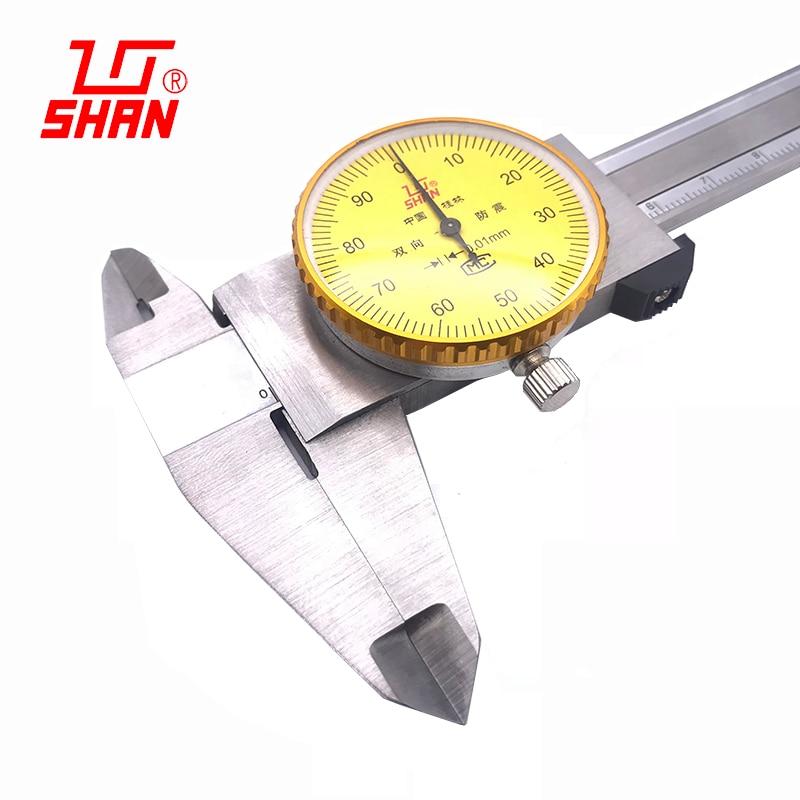 Pinças de discagem vernier de aço inoxidável de alta precisão 0.01mm com pinça de mesa 0-150 0-200 0-300mm caliper dial vernier caliper