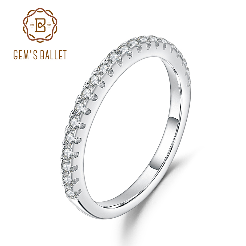 GEM'S BALLET Luxe  925 Sterling Silver Classic Wedding Band Ballad Moissanite Ring For Women Fine Jewelry(0.31Ct 1.5mm EF Color)