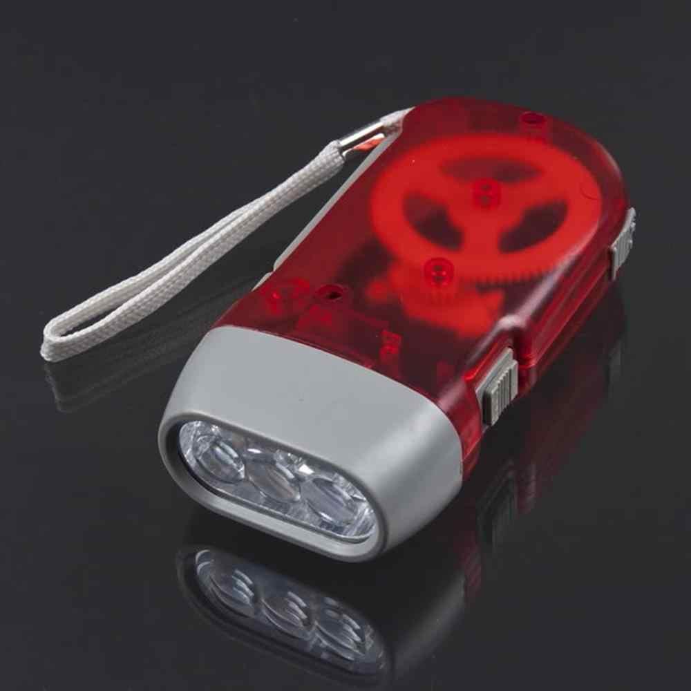 แบบพกพา 3 LED ขนาดเล็กกดไดนาโม Crank Power ไฟฉายไฟฉายมือกด Crank Camping โคมไฟ