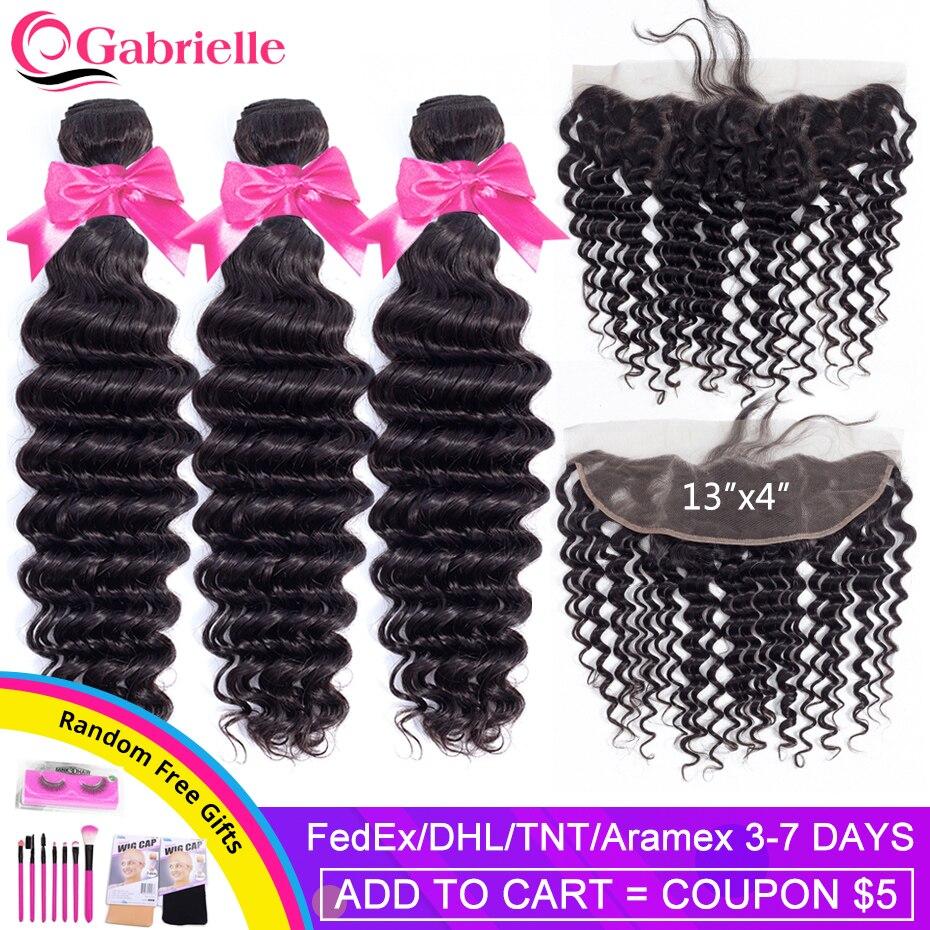 Gabrielle Tiefe Welle Bundles mit Frontal-brasilianischen Menschliches Haar 13x4 Spitze Frontal mit Bundles Remy Haar Extensions Kostenloser verschiffen