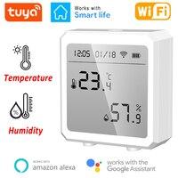Tuya-Sensor de temperatura y humedad WIFI para interiores, higrómetro con pantalla LCD, compatible con asistente de Google Alexa Home