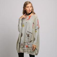 Женские свитера большого размера зимние платья свитеры с принтом