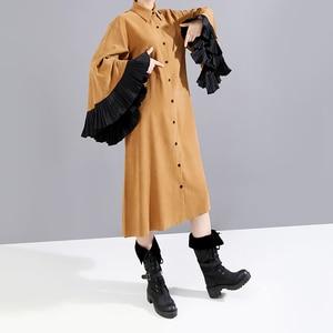 Image 4 - New 2019 Women Winter Long Straight Khaki Shirt Dress & Belt Flare Sleeve Knee Length Lady Cute Party Midi Dress Robe Femme 5701