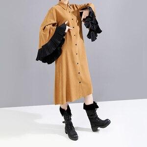 Image 4 - Nuevo 2019 mujer invierno camisa kaki larga recta vestido y cinturón manga acampanada longitud rodilla señora lindo fiesta vestido Midi bata mujer 5701