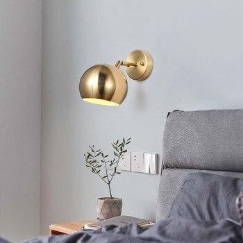 All copper postmodern light luxury living room study bedroom simple Nordic model room villa modern wall lamp 9106