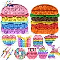 NEW Popite Figet Toys Popete spedizione gratuita Push Bubble giocattolo sensoriale Hamburger Fidget giocattoli giocattoli antistress per adulti 18 bambini