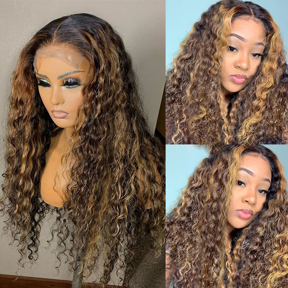 Cexxy destaque ombre peruca dianteira do laço 13x4 encaracolado perucas de cabelo humano #4/27 perucas de onda profunda para preto feminino remy 180% perucas de fechamento do laço