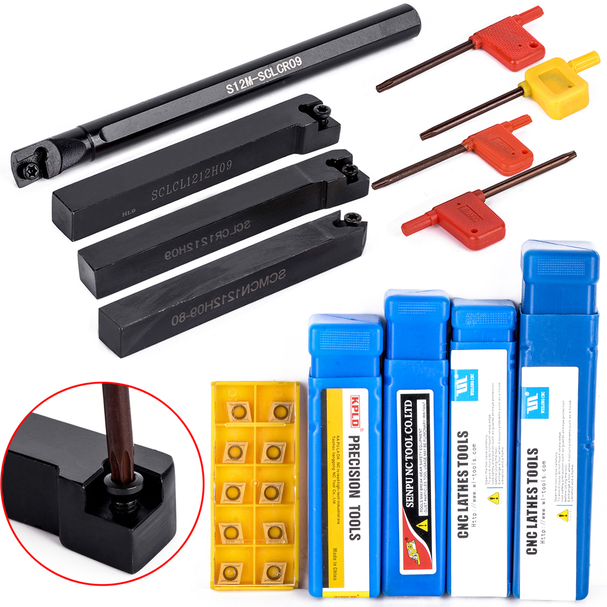 10Pcs CCMT09T304 Carbide Inserts + 4Pcs 12 Mm Shank Lathe Turning Tool Holder With 4Pcs Wrenches For Lathe CNC Turning Tool