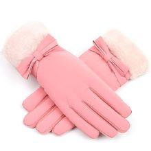 Уличные теплые перчатки для сенсорного экрана бархатные с бантом
