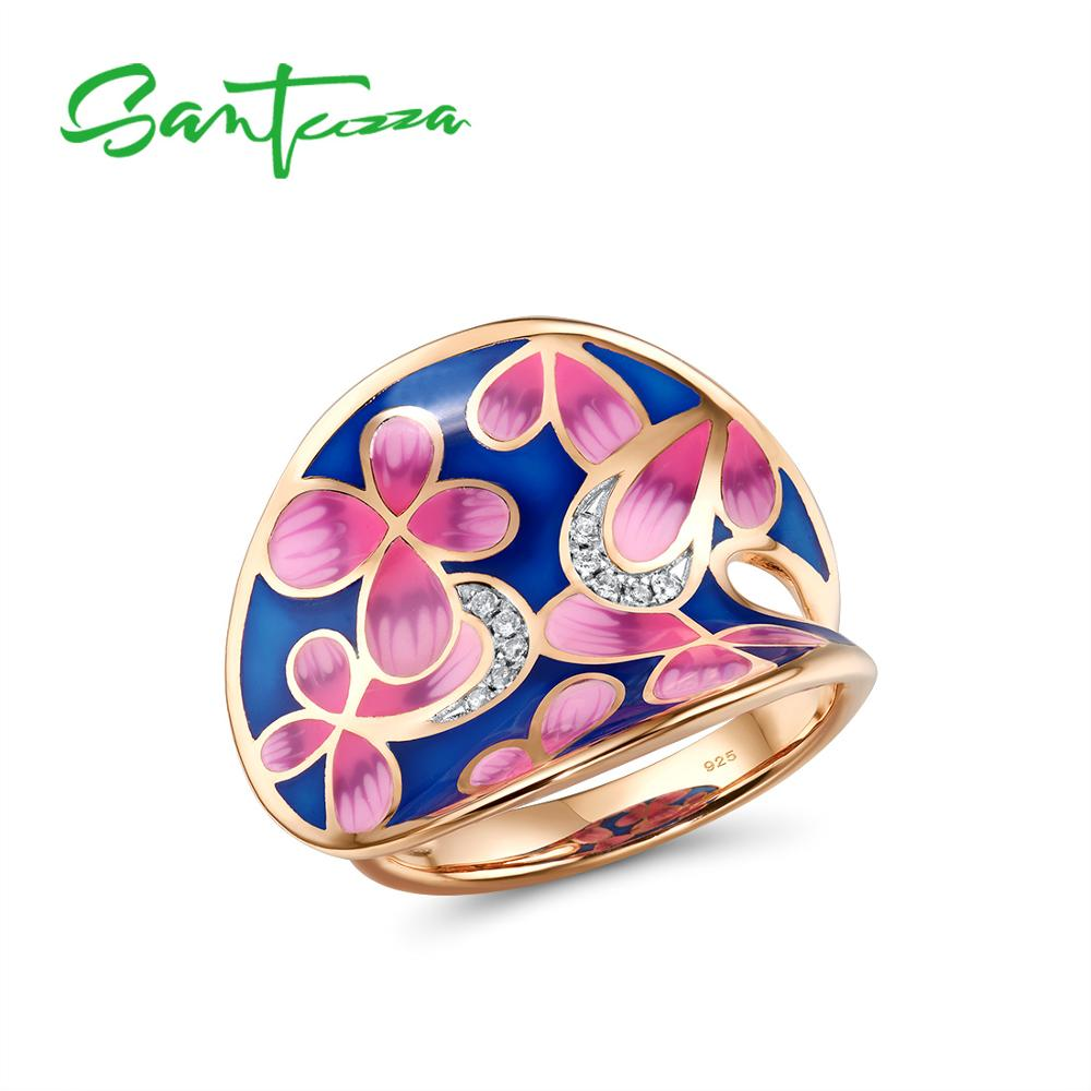 SANTUZZA Silver Rings For Women Genuine 925 Sterling Silver Rose Gold Color Elegant Pink Flowers Fine Jewelry Handmade Enamel