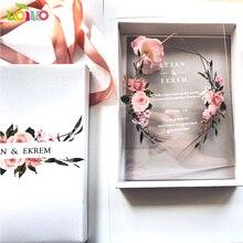 10 pezzi di carta acrilica trasparente con scatola stampata carta di invito a nozze in acrilico personalizzato (altri articoli sulla foto richiedono un costo aggiuntivo)