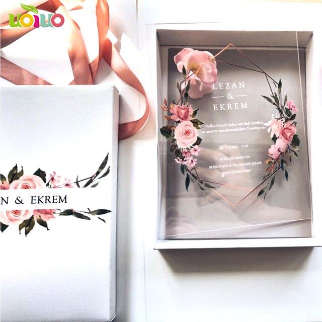 10 قطعة بطاقة الاكريليك واضحة مع صندوق مطبوع مخصص الاكريليك بطاقة دعوة الزفاف (عنصر آخر على الصورة تحتاج إلى تكلفة إضافية)