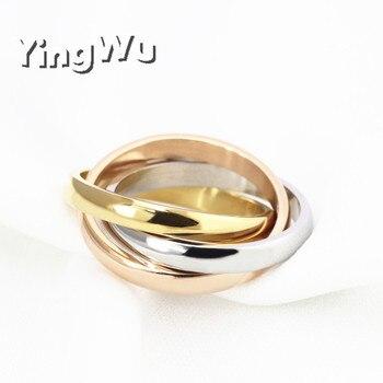 Yingwu Wholesale Classic 3 Rounds Ring Sets Women Stainless Steel Wedding Engagement Female Finger Jewelry 30pcs Lot