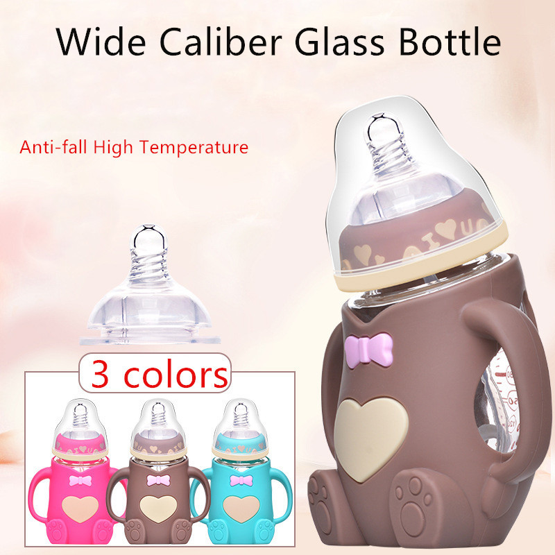 Hot Infant Baby Cute Feeding Glass Bottle Safe Silicone Milk Bottle With Handle Soft Mouth Newborn Drink Training Feeding Bottle