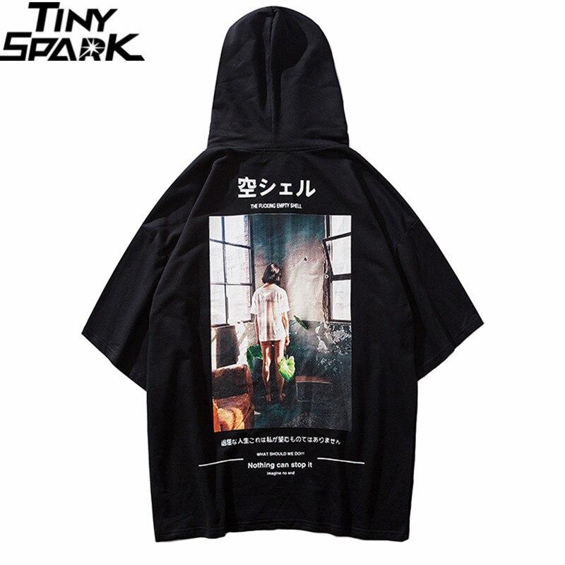 Camiseta com capuz para homens estilo japonês hip hop 2019 verão streetwear harajuku tshirt hoodie manga curta topos t algodão