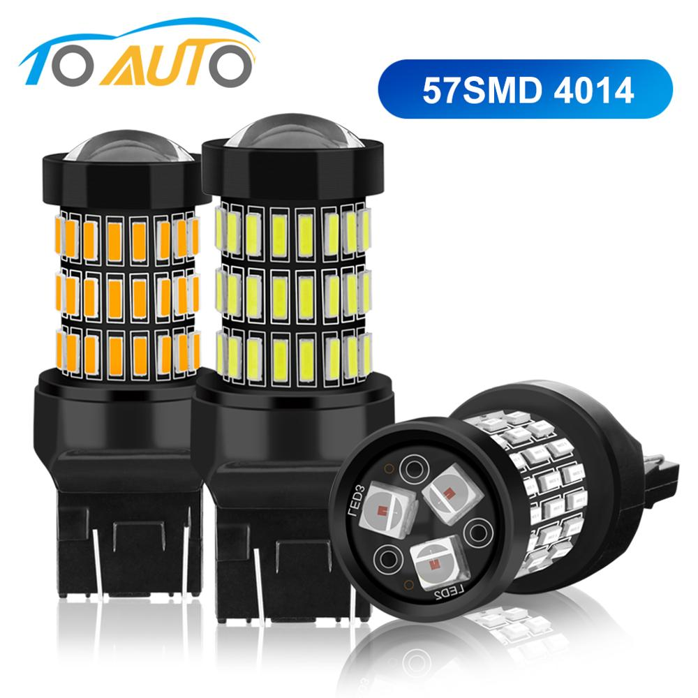 <font><b>7443</b></font> SRCK <font><b>T20</b></font> <font><b>LED</b></font> W21/5W W21W 7440 <font><b>LED</b></font> Bulbs Car Brake Tail Stop Lights 57SMD 4014 Chips Auto Lamp White Red Yellow 12V image