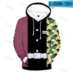 Image 5 - 악마 슬레이어 3D 후드 새로운 스타일 패션 후드 남자 Kimetsu 아니 Yaiba 애니메이션 Streetwear 옷