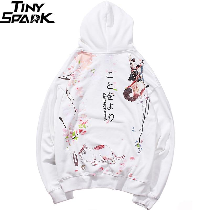 2019 Hip Hop Hoodie Sweatshirt Japanse Cartoon Drunk Ninja Cat Harajuku Hoodie Streetwear Men Funny Hoodies Pullover Oversized