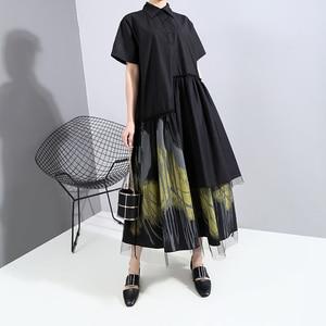 Новый 2020 роспись Стиль Для женщин летние дизайнерские Винтаж черная длинная рубашка платье в стиле ретро с принтом с верхним слоем из сетки ...