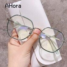 Ahora women & men polygon geléia óculos quadro tr metal transparente grande quadro óculos de proteção óptica eyewear 2021 moda
