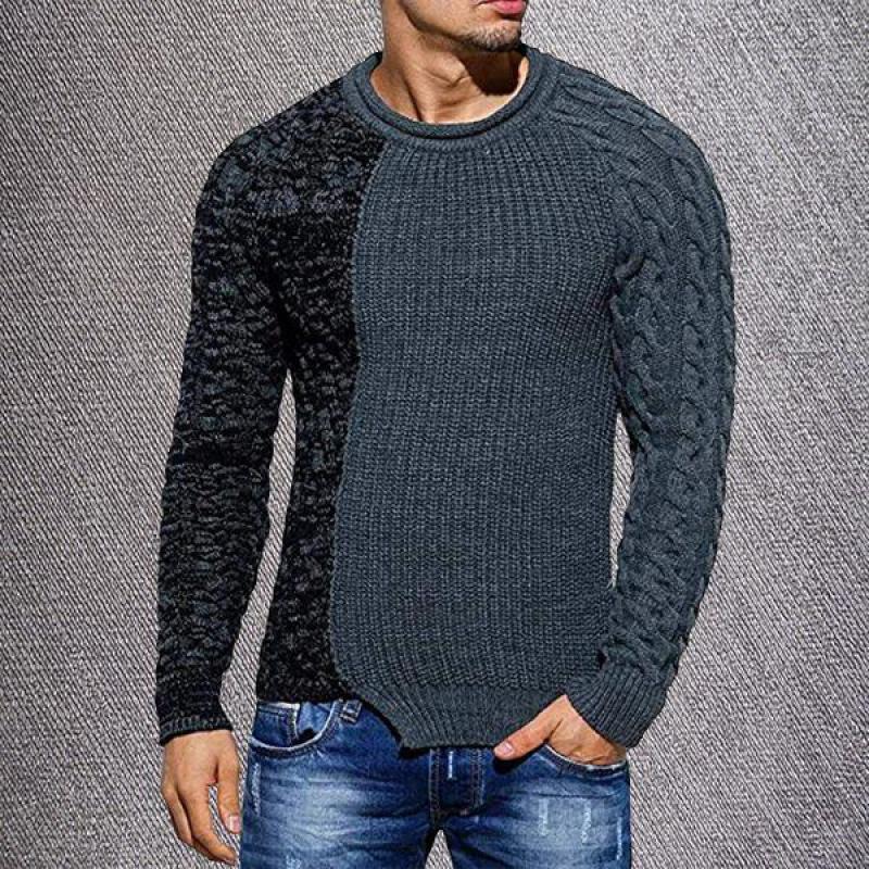 Grey Sweater with Fake Mock Denim Undershirt Illusion