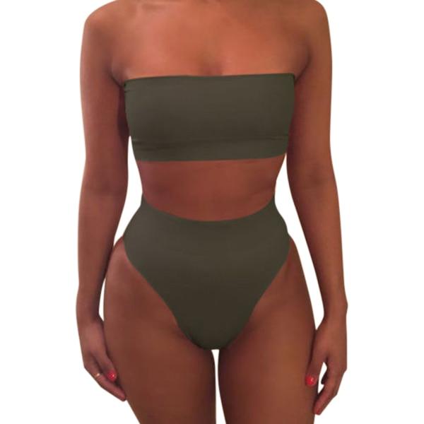 1 Set Women Swimsuit Swimwear Bikini Solid Color Fashion Breathable for Beach Holiday FOU99 1