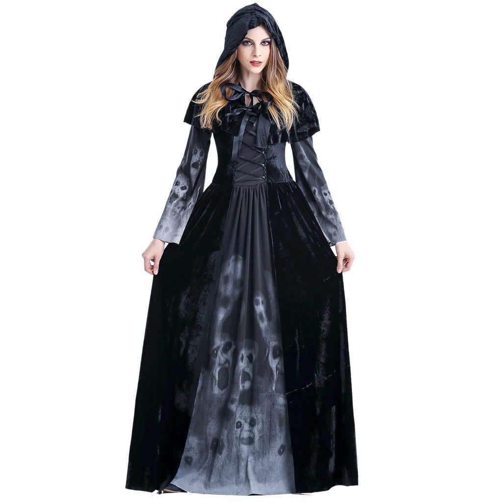 נשים ליל כל הקדושים קוספליי תלבושות מכשפה Vintage ארוך שרוול מקסי שמלת נשים של אימה גולגולת ערפד קוספליי שמלת שמלות נשף