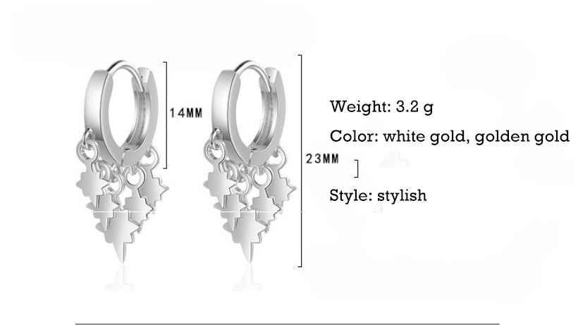 Pendientes de aro con borla de Estrellas de Plata de Ley 925 para mujer de regalo de joyas de la fiesta