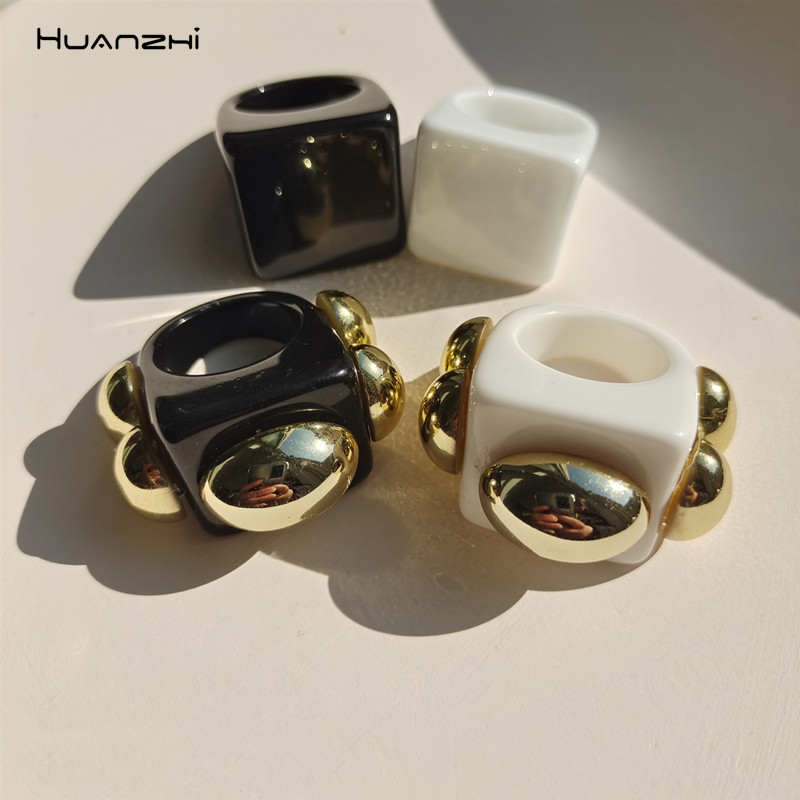 Nova resina transparente acrílico geométrica anéis quadrados conjuntos de ouro anel de metal para mulheres jóias festa meninas presentes huanzhi 2021