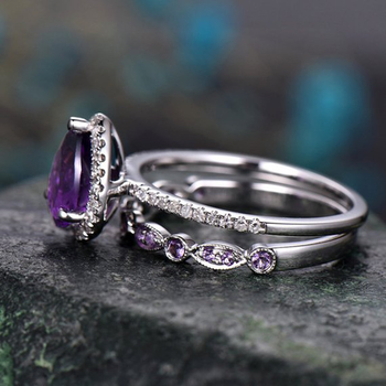 Boho Female Purple Water Drop Ring Set Fashion Silver Love Engagement Amethyst Ring Vintage CZ Wedding Rings For Women 4