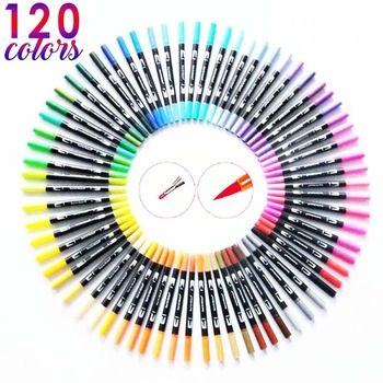 120 color color double head mark brush painting stationery set art student calligraphy drawing pen sketch pen