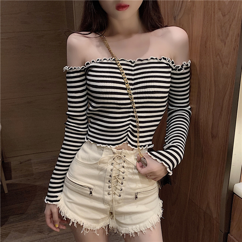 Knitted Striped Sweater Shirts Girls Ruffles Slash Neck Full Sleeve Contrast Color Cropped Sweater Pullover Crop Top For Female