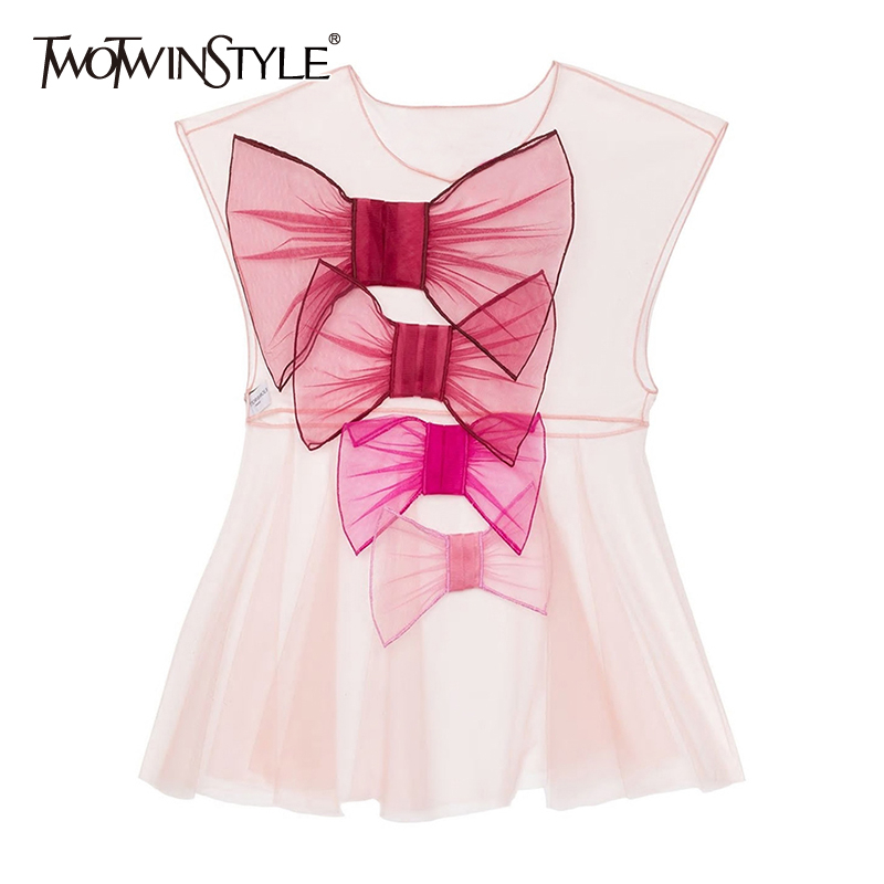 TWOTWINSTYLE Elegant Patchwork Bow Women Shirt O Neck Butterfly Short Sleeve High Waist Ruffles Hit Color Blouses Female Fashion