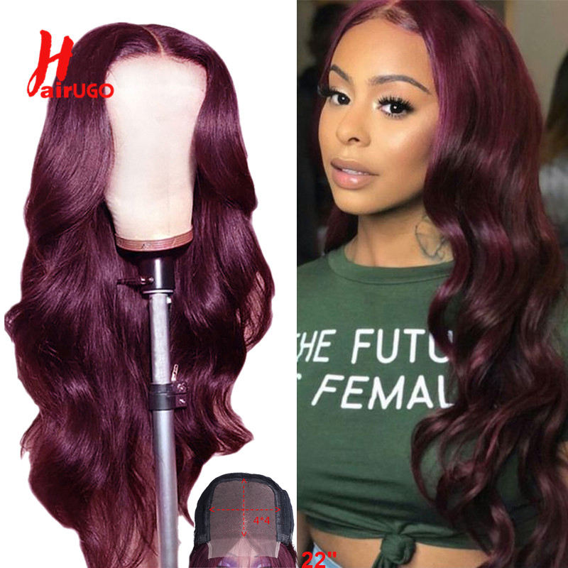 Ombre Red Body Wave 4x4 Lace Closure Human Hair Wig Pre-plucked Malaysian Remy Burgundy Wig 150% Density For Black Women HairUGo