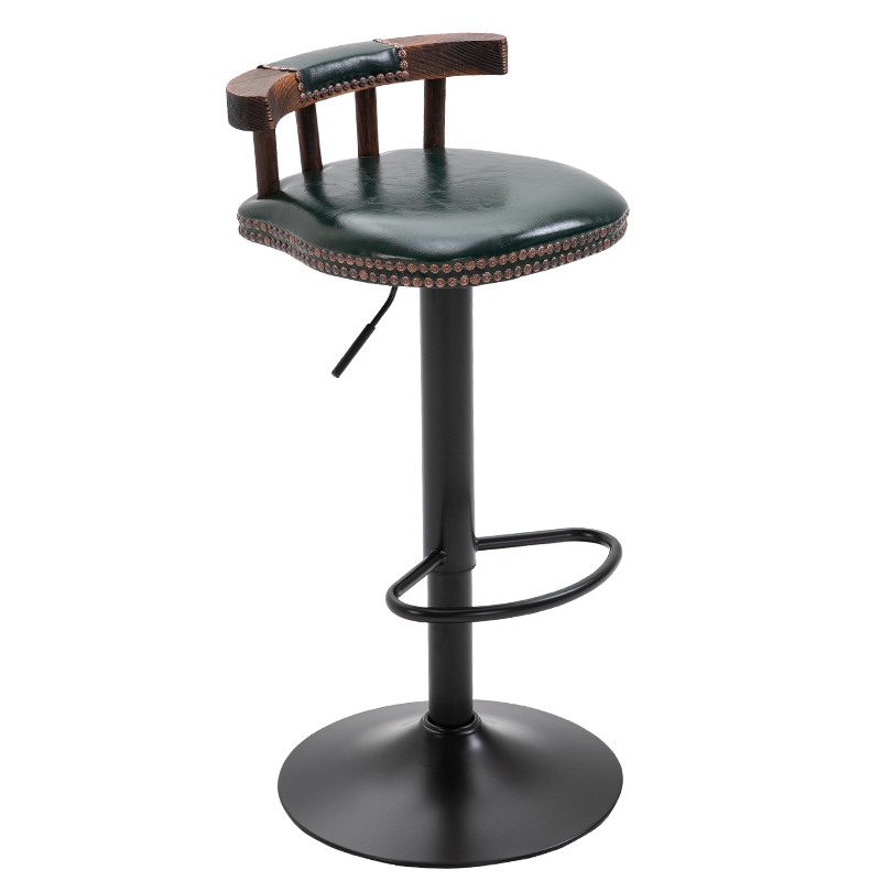 New Solid Backrest Bar Stool Modern Minimalist Home Wrought Iron High Stool Bar Stool Chair American Lifting Stool Barstool