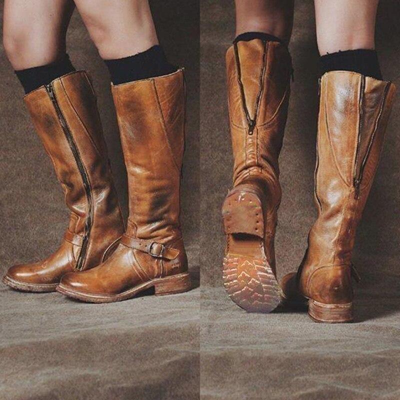 LZJ 2019 รองเท้าแฟชั่นผู้หญิง Steampunk Gothic Vintage สไตล์ Retro Punk หัวเข็มขัดทหารฤดูหนาวรองเท้าผู้หญิง botas mujer