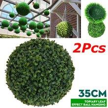2 pçs 35cm plástico topiary árvore folha efeito bola pendurado decoração do jardim casa artificial pendurado topiary buxus bolas