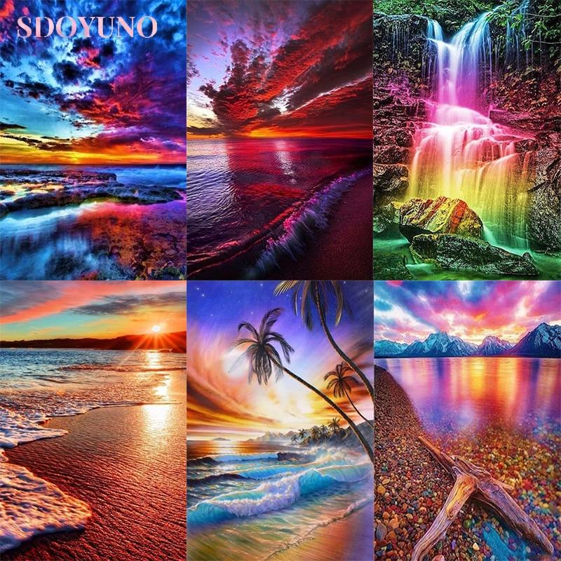 Набор для рисования акриловыми красками по номерам, наборы для рисования на холсте, красочный морской пейзаж, diy рамка, ручная краска, уникал...