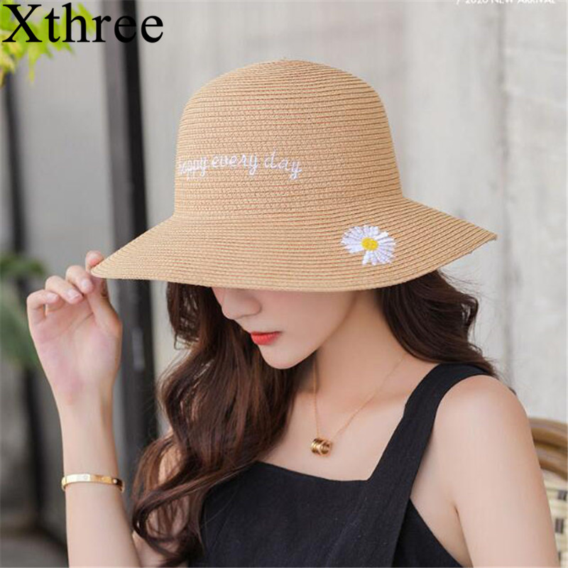 Xthree Good Quality Girls Summer Hat Women Raffia Straw Cap Ladies Big Brim Sun Hat  Hat For Women Beach Hat