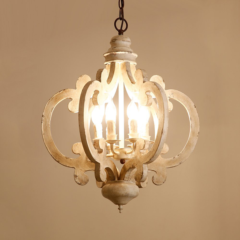 UMEILUCE Retro Chandeliers Fixture Wood 6 Lights White Painting Decorative Vintage Kitchen Hanging Lamp  Living Dining Lighting