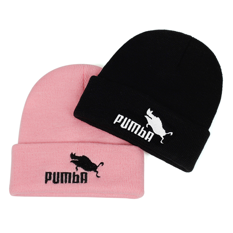 Knitted Hat Beanies-Cap Ski-Hats Embroidery Skullies Funny Warm Pumba Fashion Women  title=