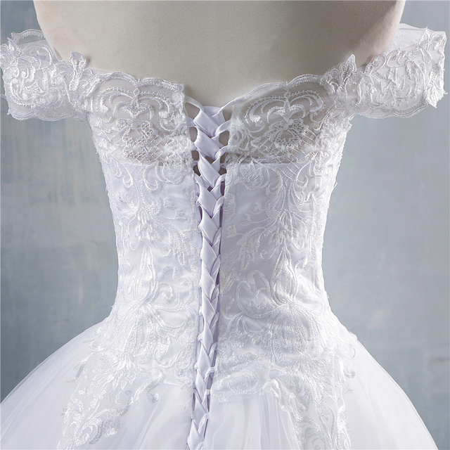ZJ8150 ZJ9150 2019 2020 new White Ivory Off the Shoulder Wedding Dresses for brides Bottom Lace Big Train with lace edge 5