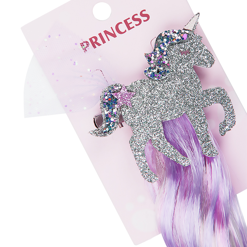Unicorn Hair Clips For Girls Long Wig Ponytails Shiny Glitter Hair Bows New