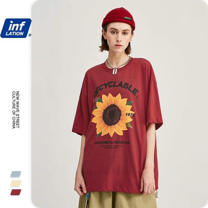 INFLATION Men Tee Shirt Sunflower Printed Men Summer T-shirt Oversized Hip Hop Men T Shirt 100% Cotton  Tee Shirt Homme 1242S20