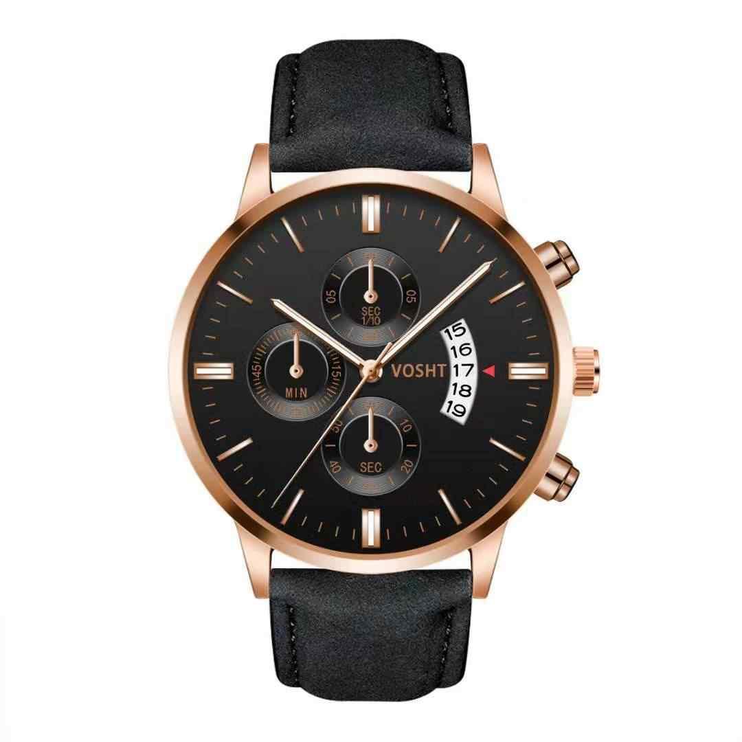 Relógio esportivo unissex, relógios ultrafinos para homens e mulheres, relógios analógicos militares de luxo de couro e quartzo