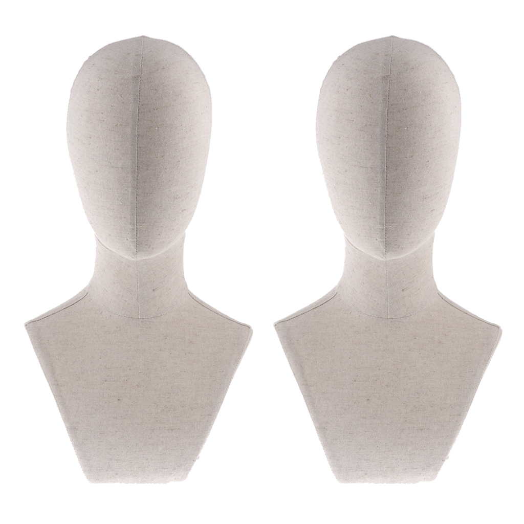 2pcs 22inch Canvas <font><b>Block</b></font> Wig Head Mannequin Head for Wig Making Display Styling Dry Manikin Head Model Salon <font><b>Hat</b></font> Cap Holder image